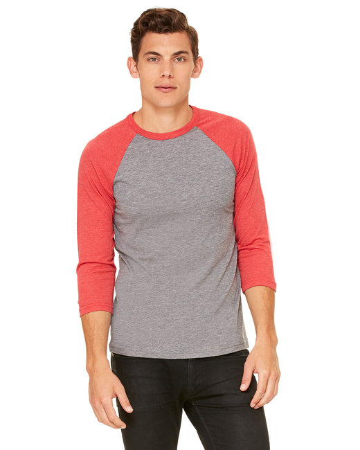 3200 Bella + Canvas Unisex 3/4-Sleeve Baseball T-Shirt