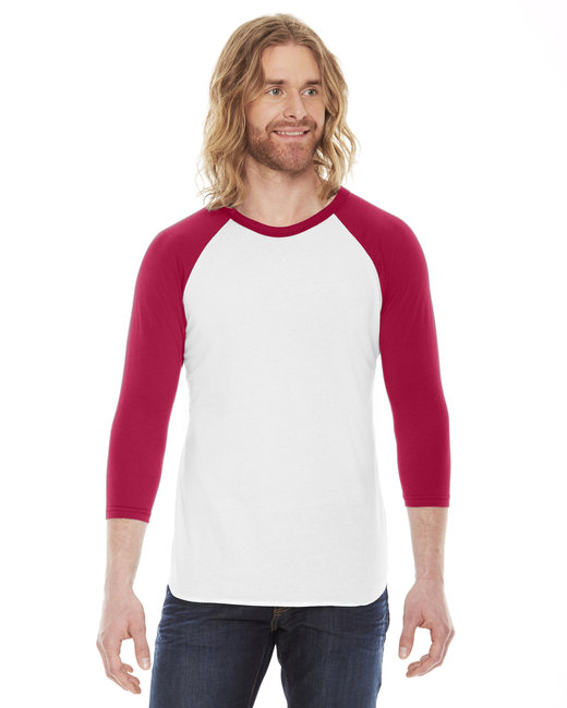 BB453W American Apparel Unisex Poly-Cotton 3/4-Sleeve Raglan T-Shirt