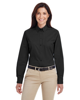 M581W Harriton Ladies' Foundation 100% Cotton Long Sleeve Twill Shirt with Teflon™