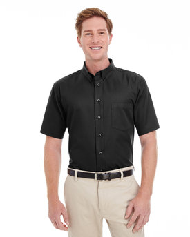 M582 Harriton Men's Foundation 100% Cotton Short Sleeve Twill Shirt Teflon™