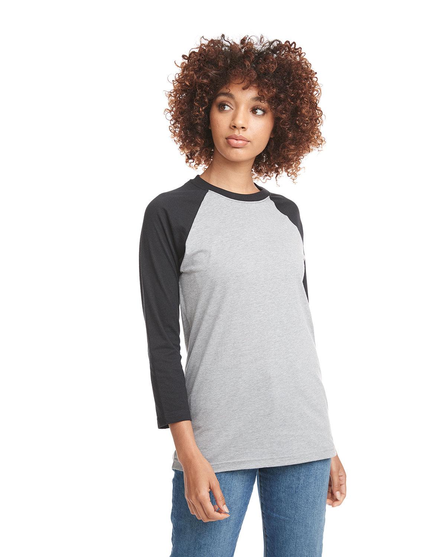 Next Level Unisex CVC 3/4 Sleeve Raglan Baseball T-Shirt BLK/ DK HTHR GRY