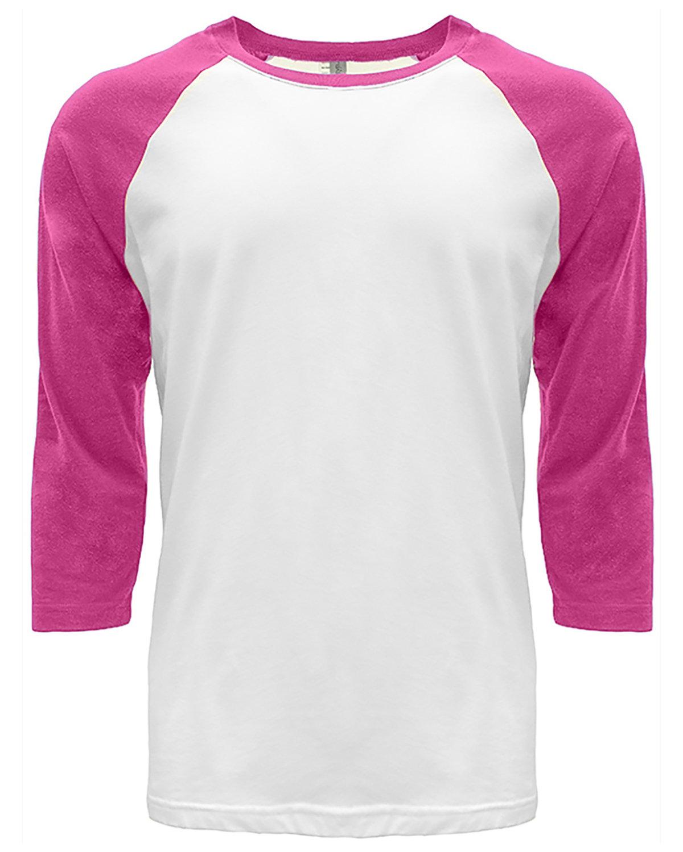 Next Level Unisex CVC 3/4 Sleeve Raglan Baseball T-Shirt HOT PINK/ WHITE