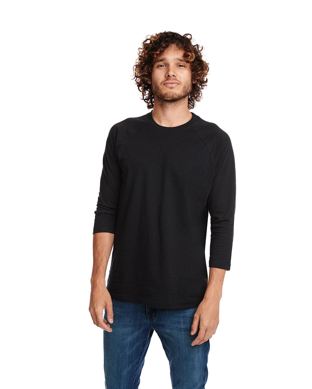 Next Level Unisex CVC 3/4 Sleeve Raglan Baseball T-Shirt BLACK/ BLACK