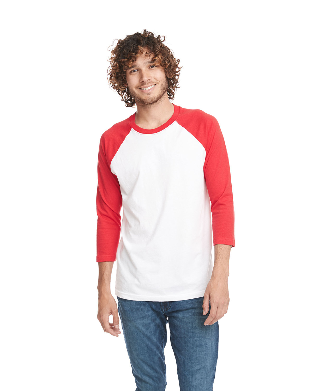 Next Level Unisex CVC 3/4 Sleeve Raglan Baseball T-Shirt RED/ WHITE