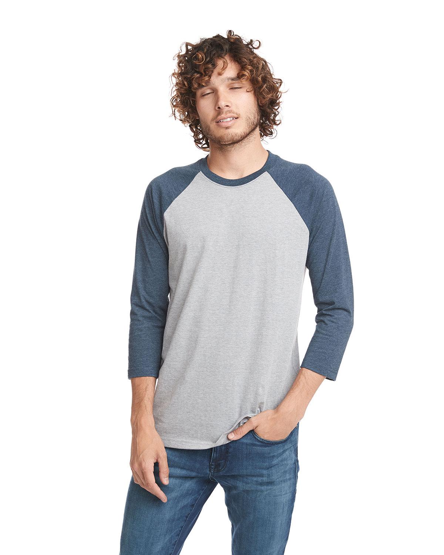 Next Level Unisex CVC 3/4 Sleeve Raglan Baseball T-Shirt MD NY/ D HTR GRY