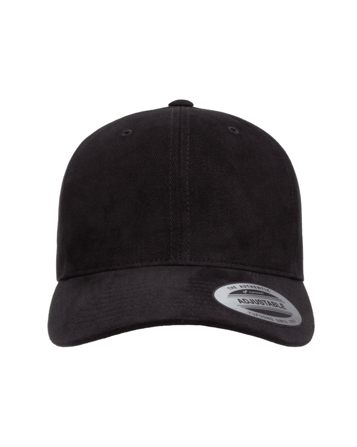 Yupoong Adult Brushed Cotton Twill Mid-Profile Cap BLACK