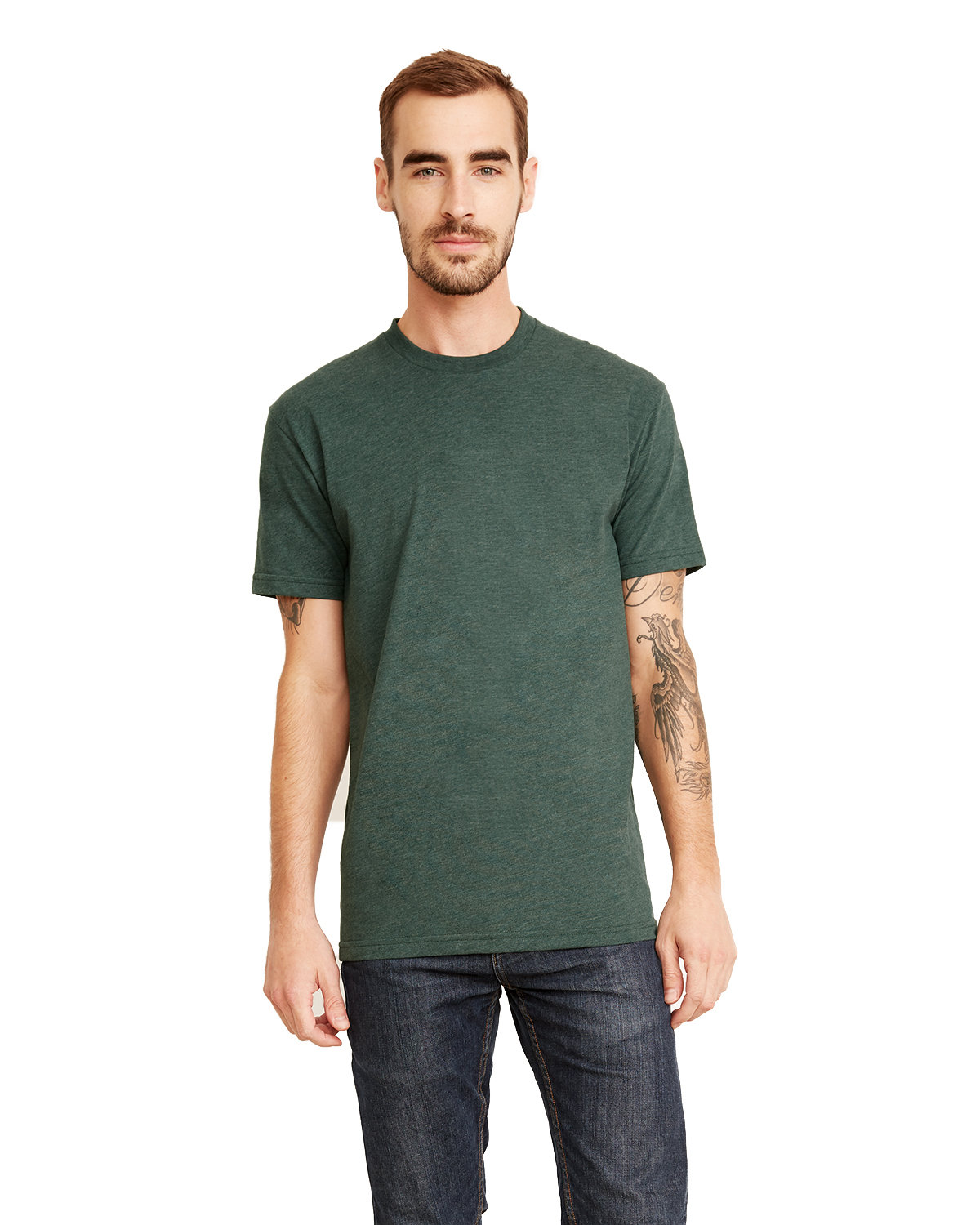 Next Level Men's Sueded Crew HTH FOREST GREEN