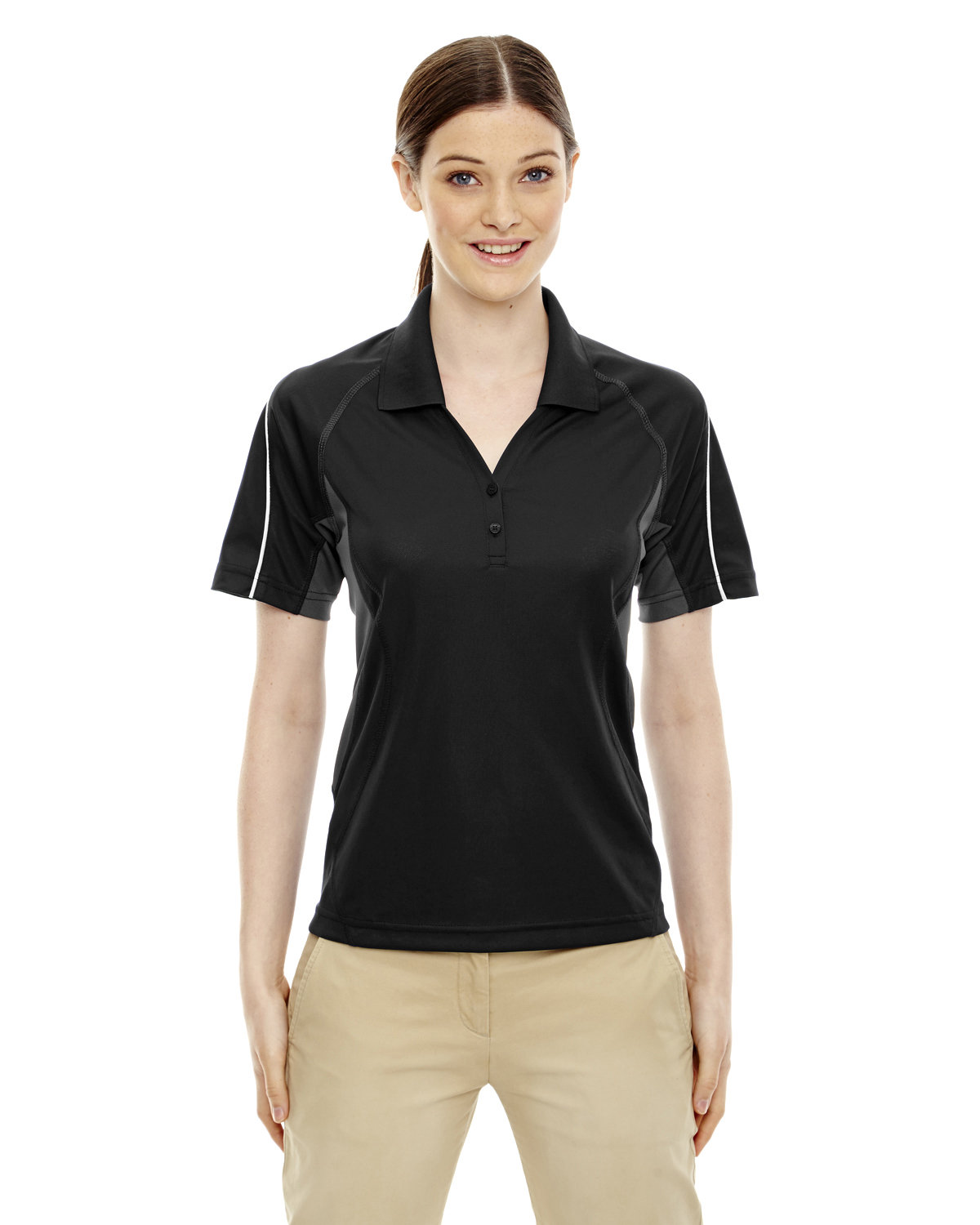 Extreme Ladies' Eperformance™ Parallel Snag Protection Polo with Piping BLACK