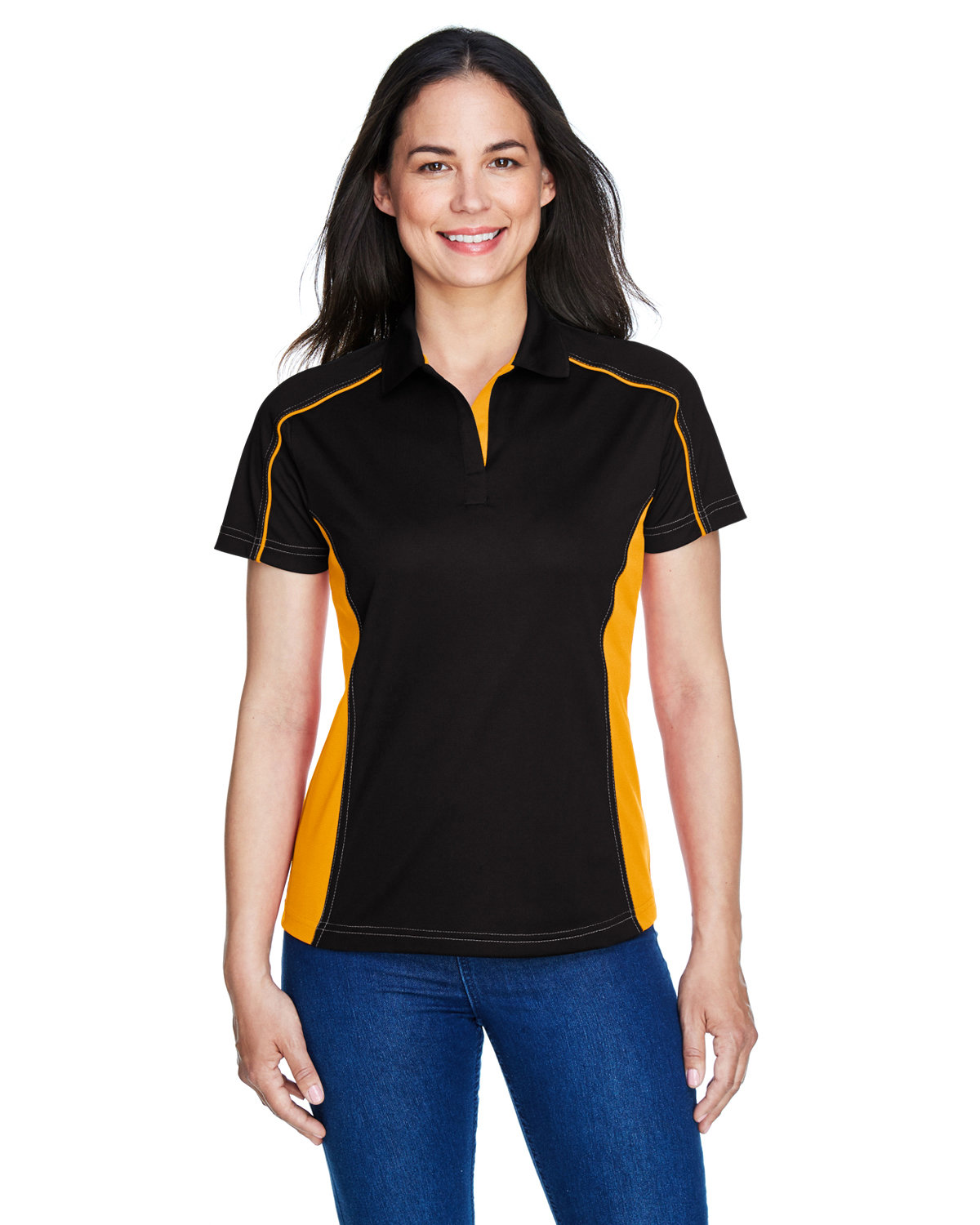Extreme Ladies' Eperformance™ Fuse Snag Protection Plus Colorblock Polo BLK/ CMPS GOLD