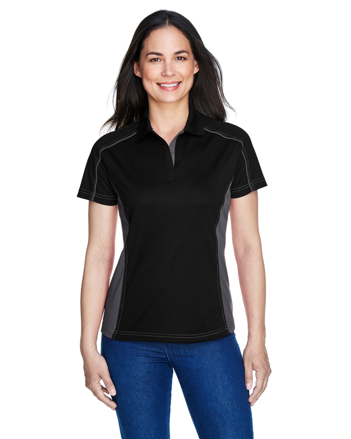 Extreme Ladies' Eperformance™ Fuse Snag Protection Plus Colorblock Polo BLACK/ CARBON