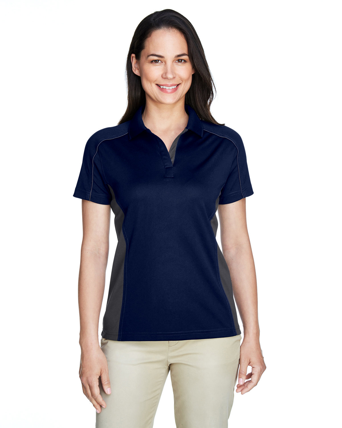 Extreme Ladies' Eperformance™ Fuse Snag Protection Plus Colorblock Polo CLASC NAVY/ CRBN