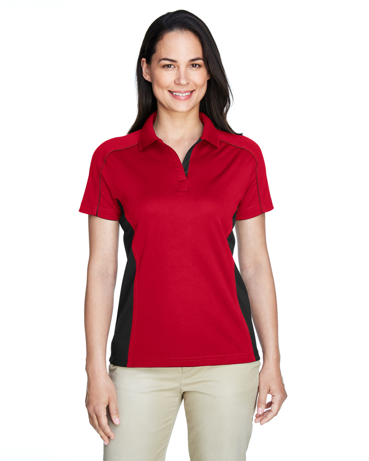 Extreme Ladies' Eperformance™ Fuse Snag Protection Plus Colorblock Polo CLASSIC RED/ BLK