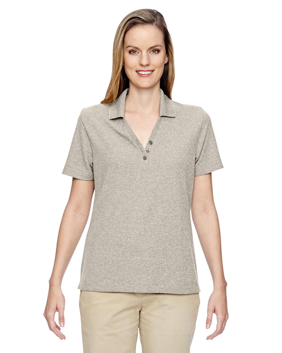 North End Ladies' Excursion Nomad Performance Waffle Polo STONE