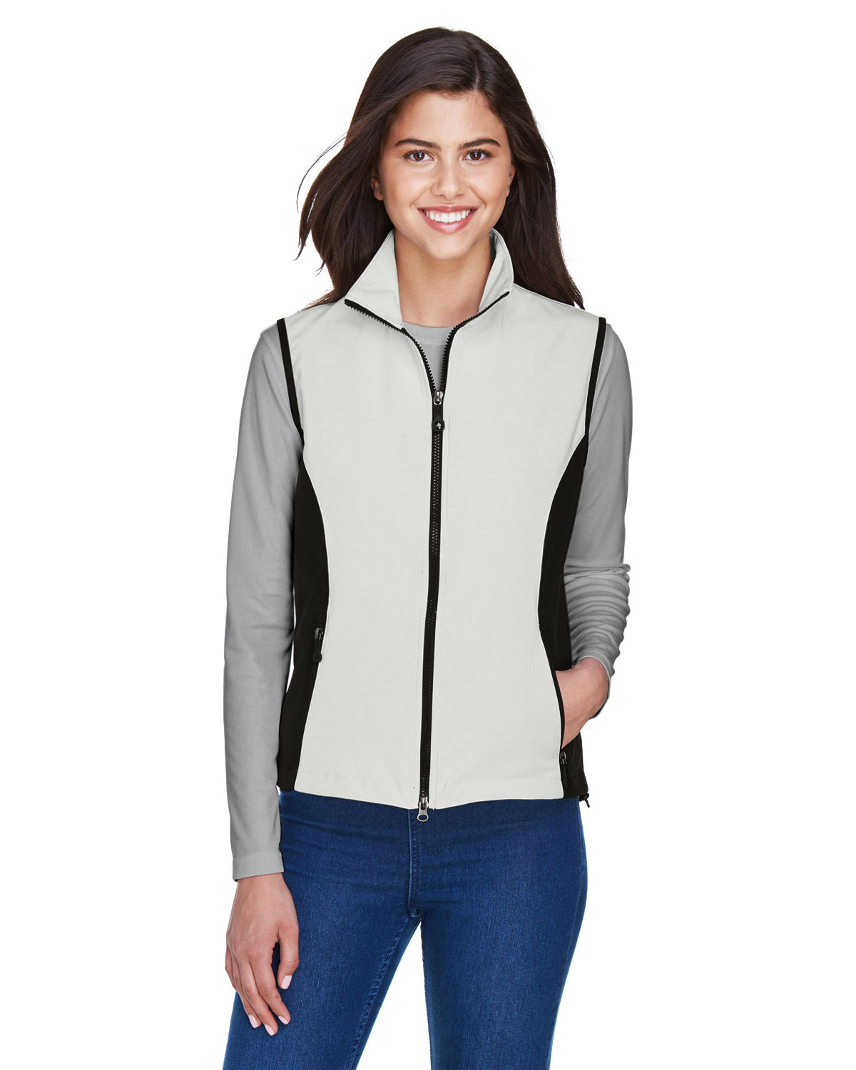 North End Ladies' Three-Layer Light Bonded Performance Soft Shell Vest NATURAL STONE
