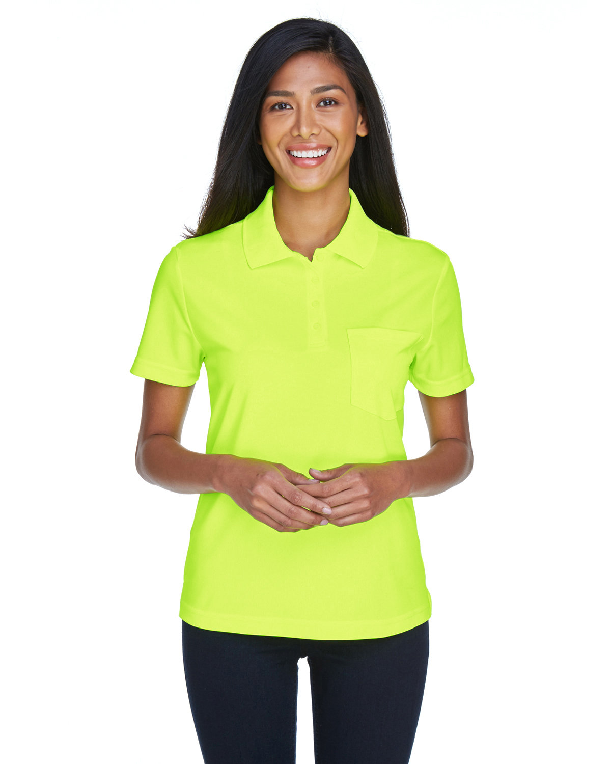 Core 365 Ladies' Origin Performance Piqué Polo with Pocket SAFETY YELLOW