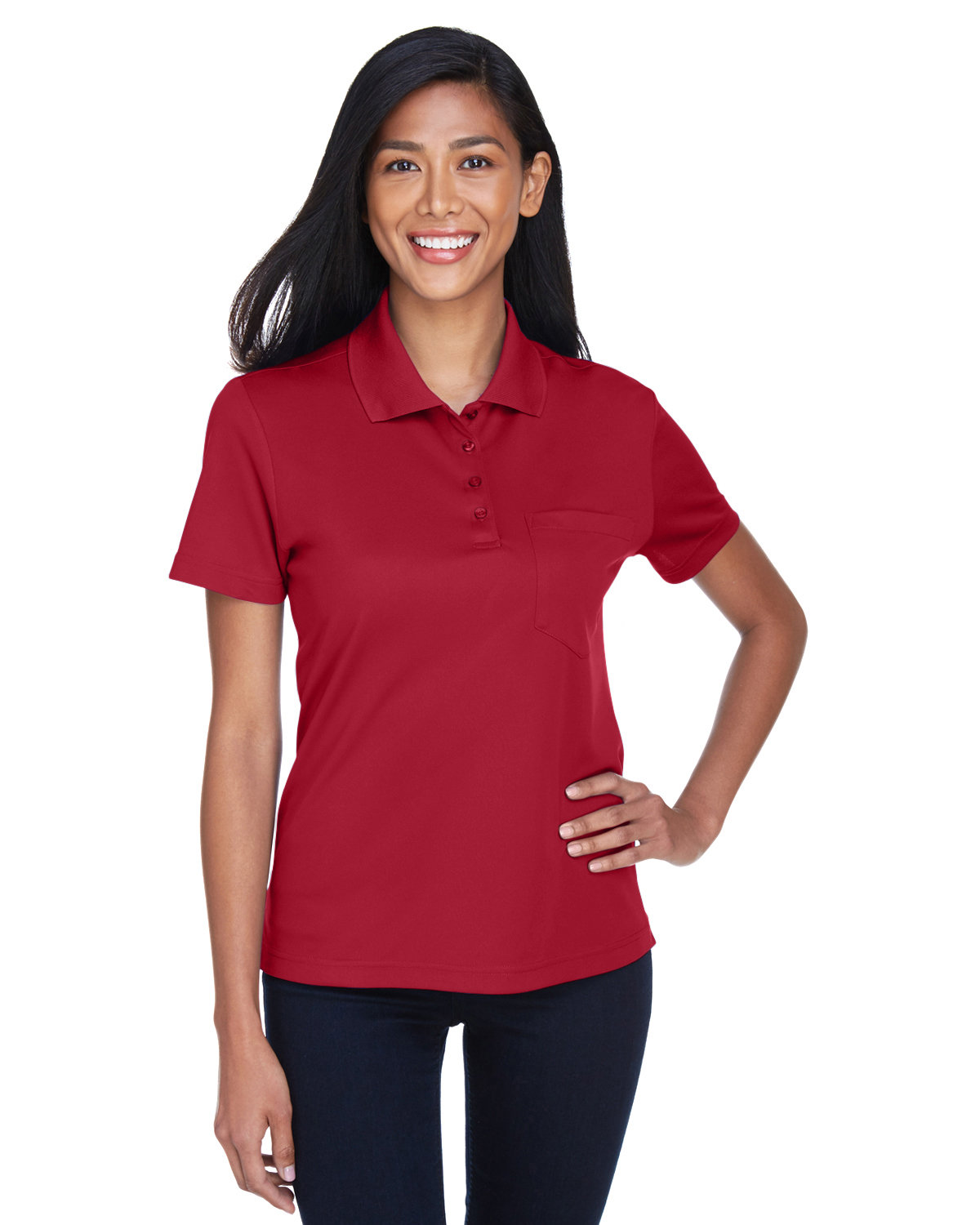 Core 365 Ladies' Origin Performance Piqué Polo with Pocket CLASSIC RED