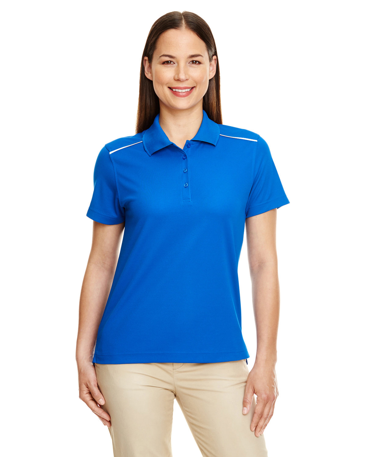 Core 365 Ladies' Radiant Performance Piqué Polo with Reflective Piping TRUE ROYAL