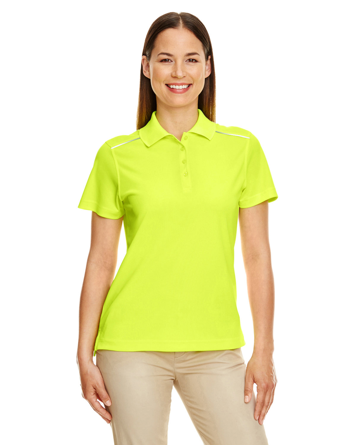 Core 365 Ladies' Radiant Performance Piqué Polo with Reflective Piping SAFETY YELLOW