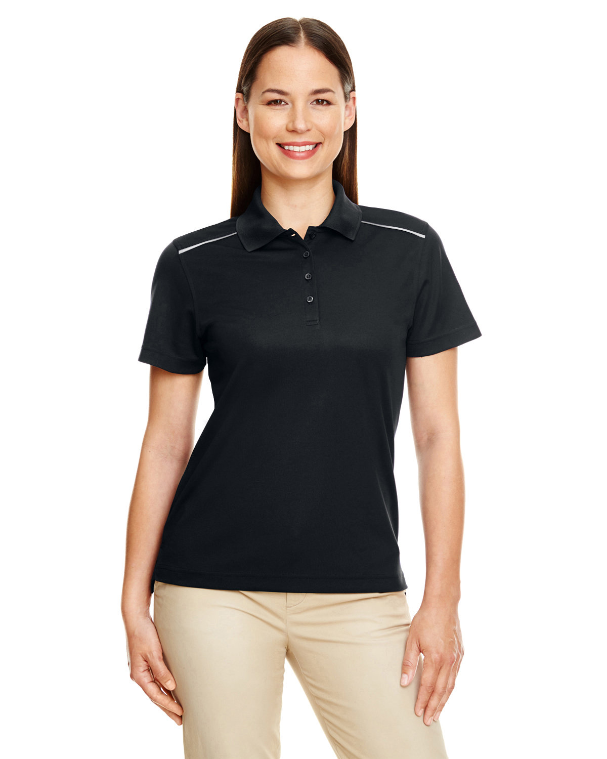 Core 365 Ladies' Radiant Performance Piqué Polo with Reflective Piping BLACK