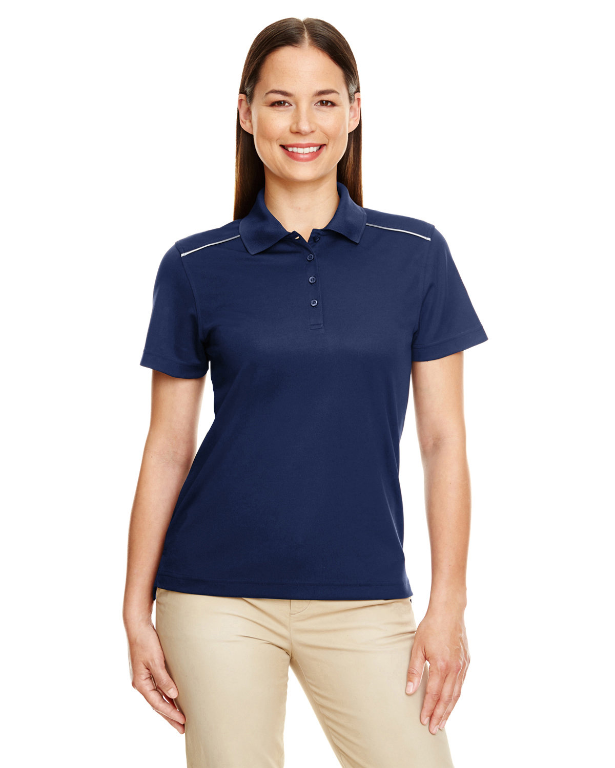 Core 365 Ladies' Radiant Performance Piqué Polo with Reflective Piping CLASSIC NAVY