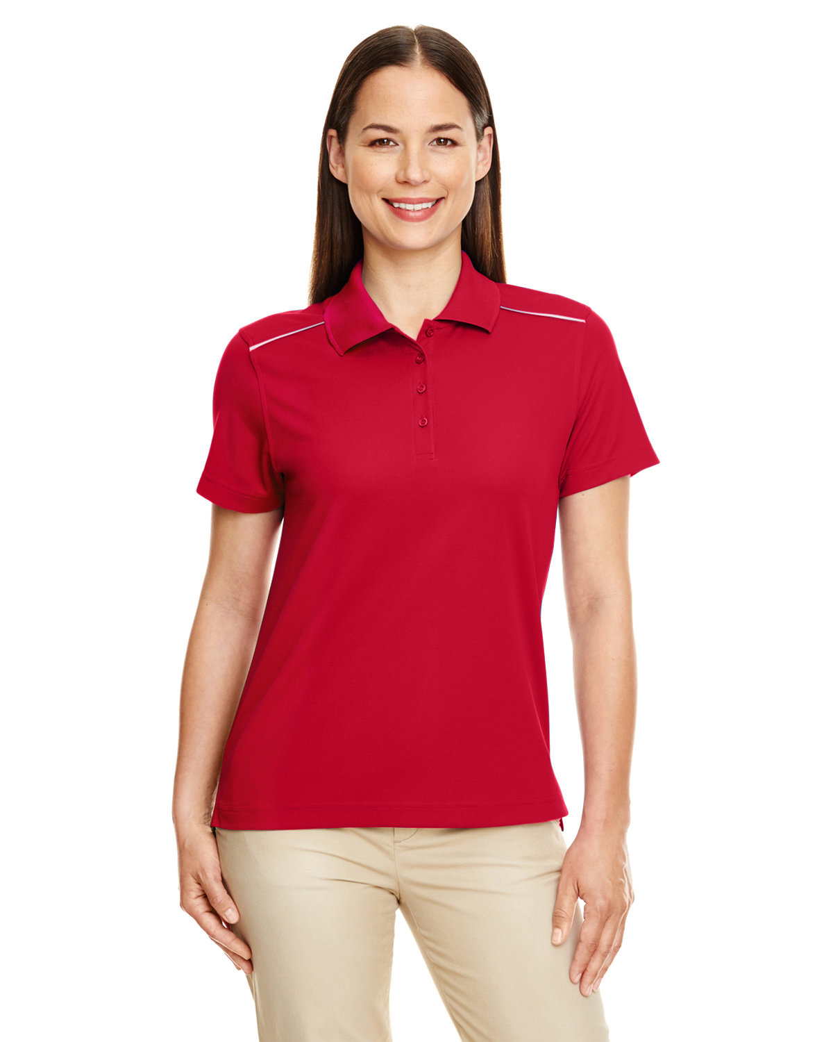 Core 365 Ladies' Radiant Performance Piqué Polo with Reflective Piping CLASSIC RED