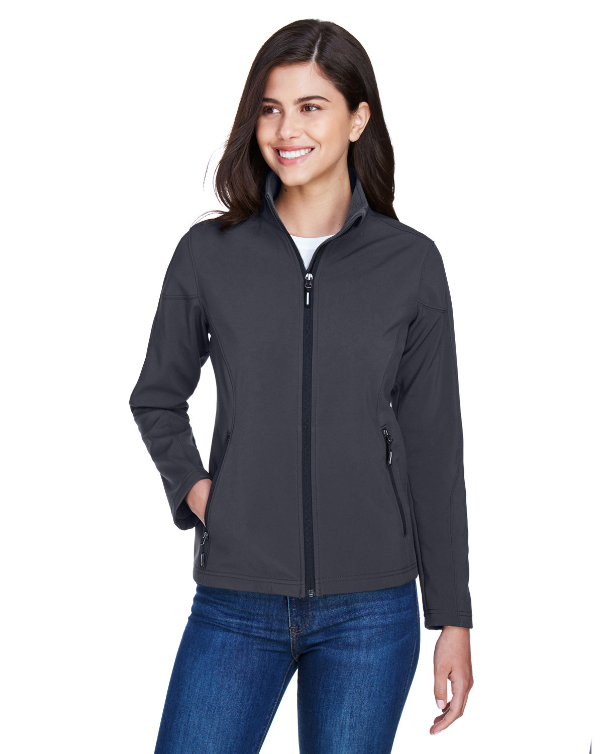 Core 365 Ladies' Cruise Two-Layer Fleece Bonded SoftShell Jacket CARBON