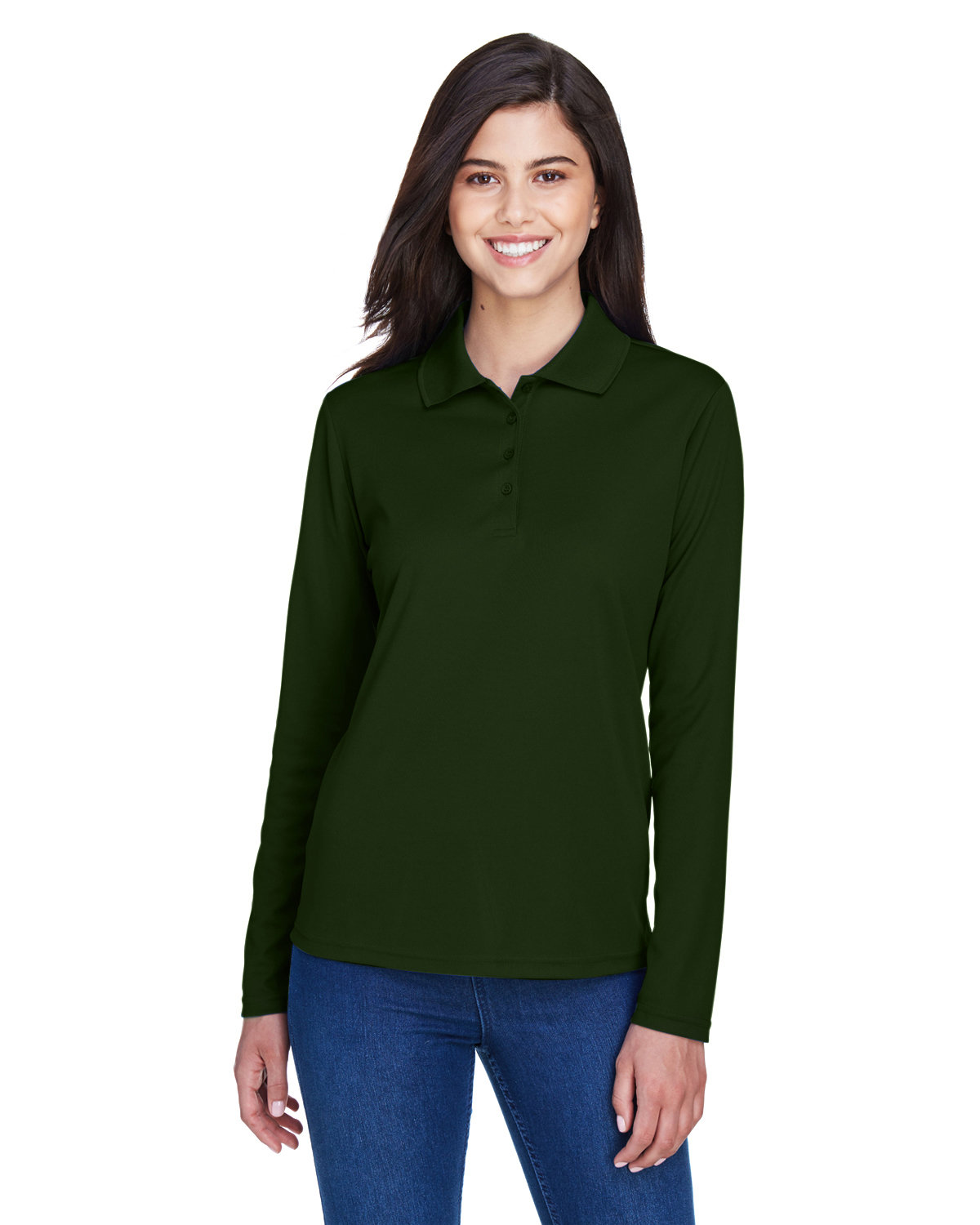 Core 365 Ladies' Pinnacle Performance Long-Sleeve Piqué Polo FOREST