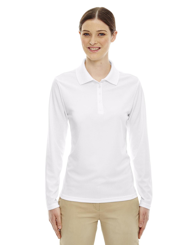 Core 365 Ladies' Pinnacle Performance Long-Sleeve Piqué Polo WHITE