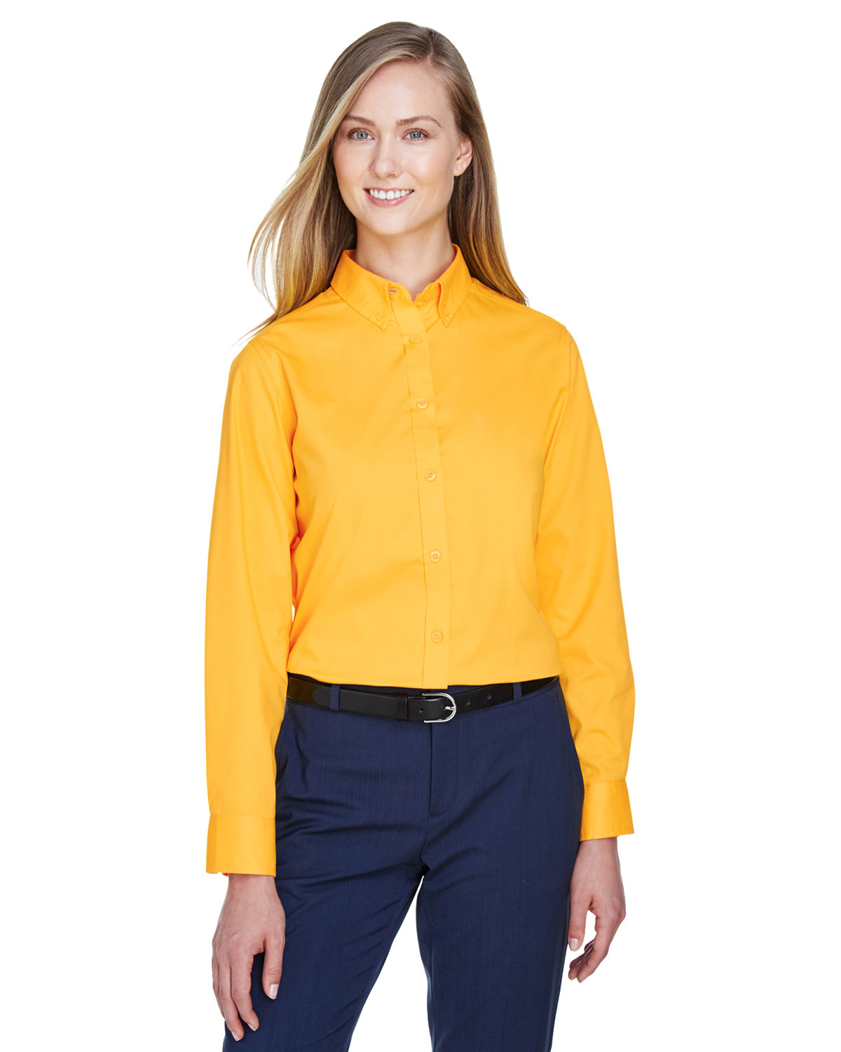 Core 365 Ladies' Operate Long-Sleeve Twill Shirt CAMPUS GOLD