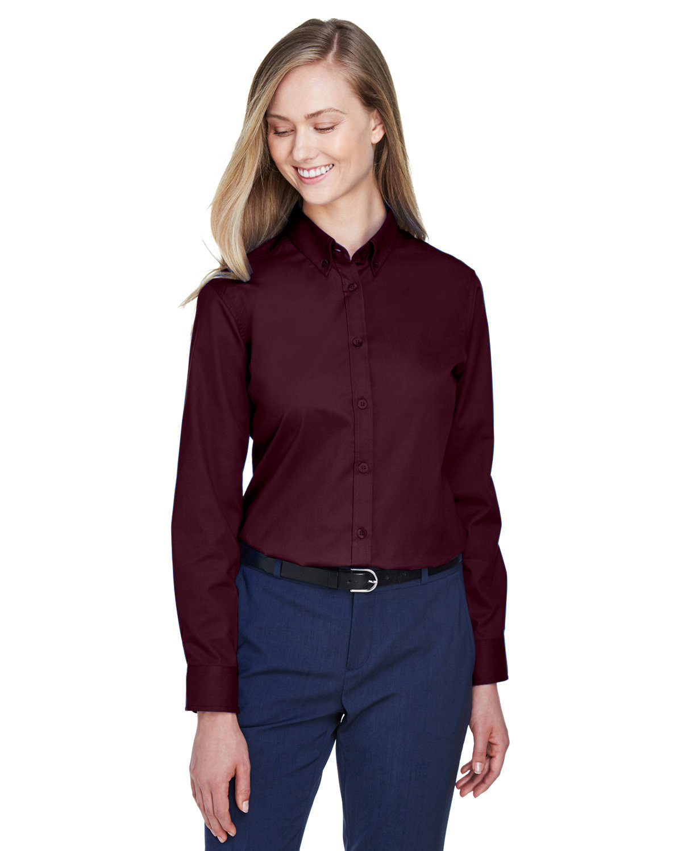 Core 365 Ladies' Operate Long-Sleeve Twill Shirt BURGUNDY
