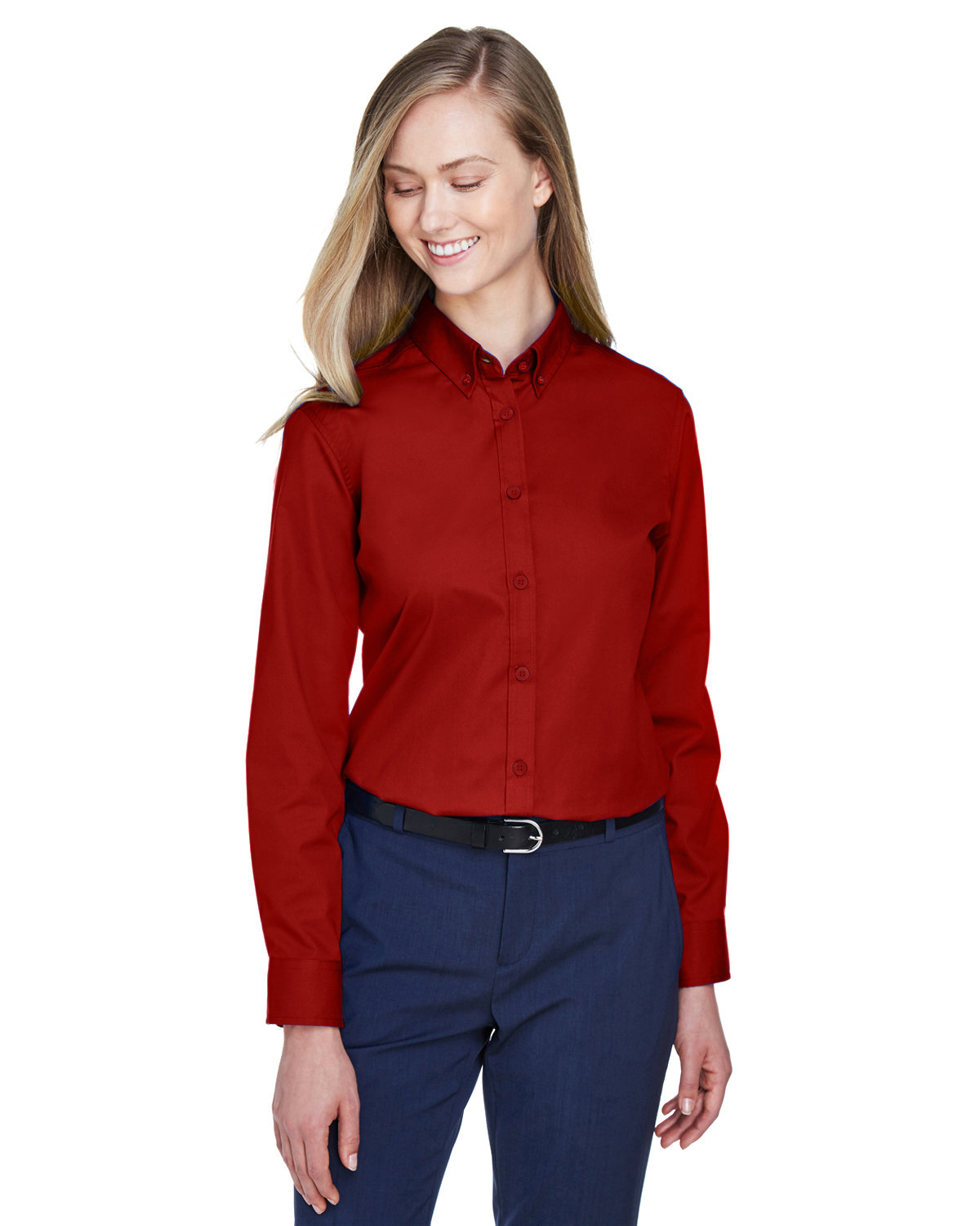Core 365 Ladies' Operate Long-Sleeve Twill Shirt CLASSIC RED