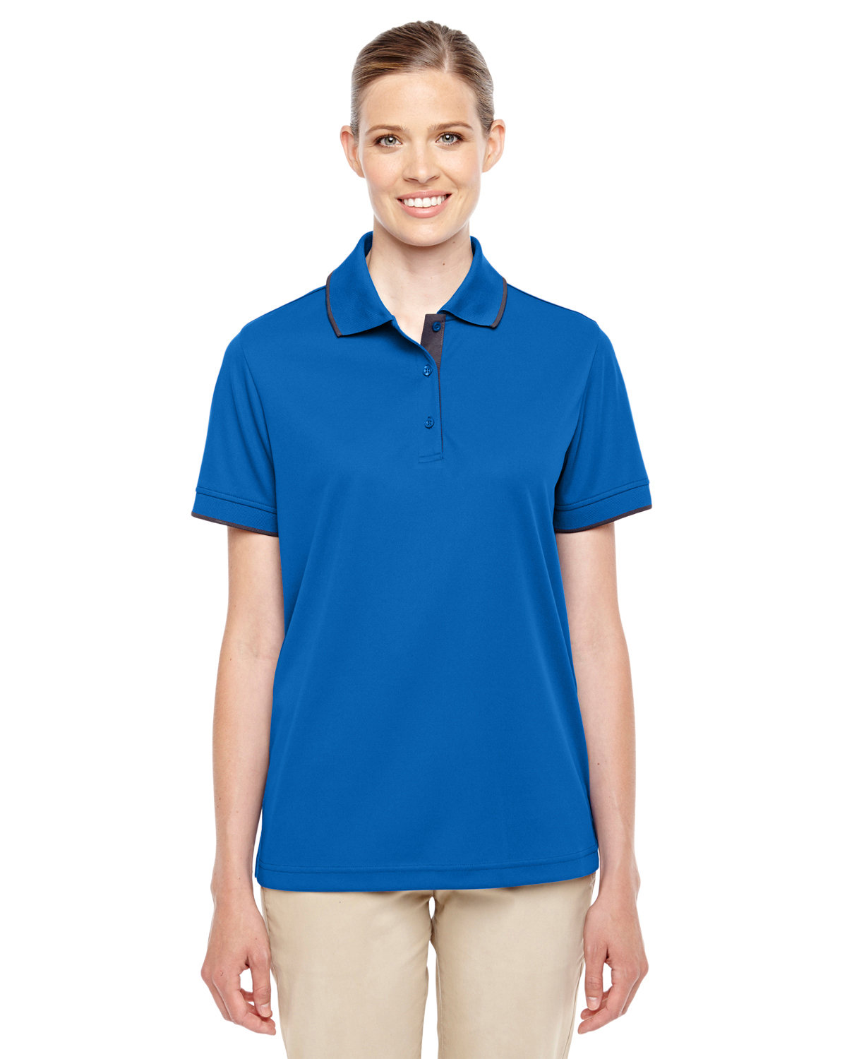 Core 365 Ladies' Motive Performance Piqué Polo with Tipped Collar TRU ROYAL/ CRBN