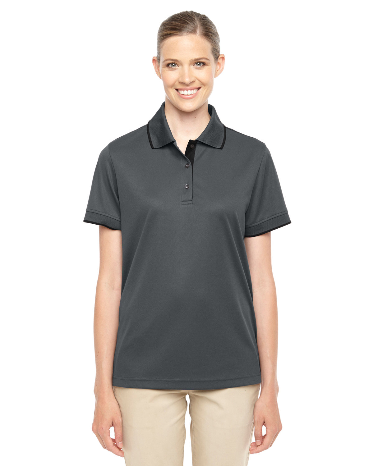Core 365 Ladies' Motive Performance Piqué Polo with Tipped Collar CARBON/ BLACK