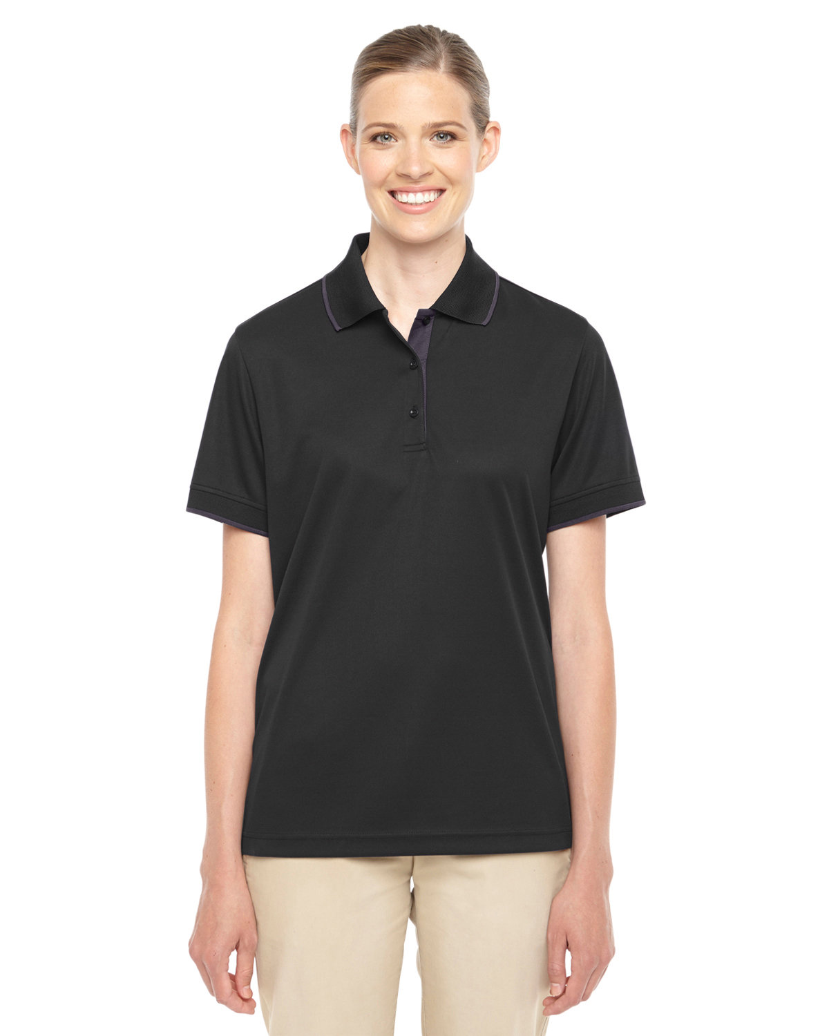 Core 365 Ladies' Motive Performance Piqué Polo with Tipped Collar BLACK/ CARBON