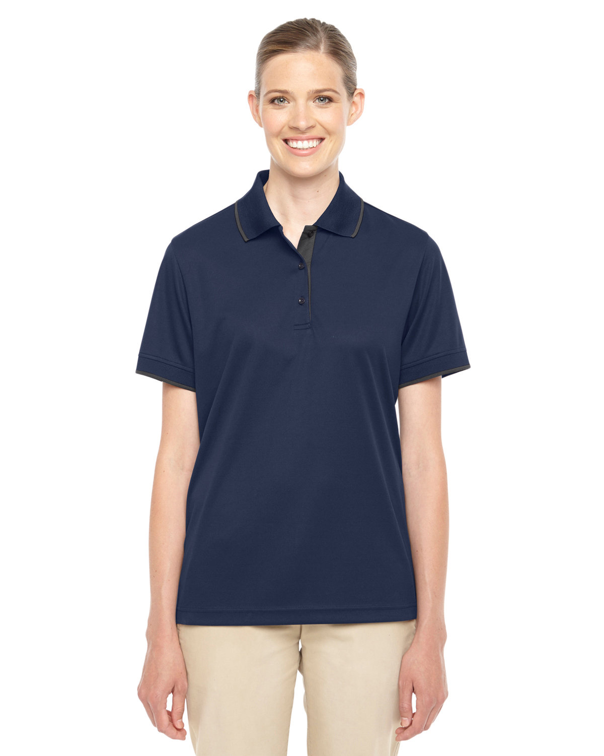 Core 365 Ladies' Motive Performance Piqué Polo with Tipped Collar CLASSC NVY/ CRBN