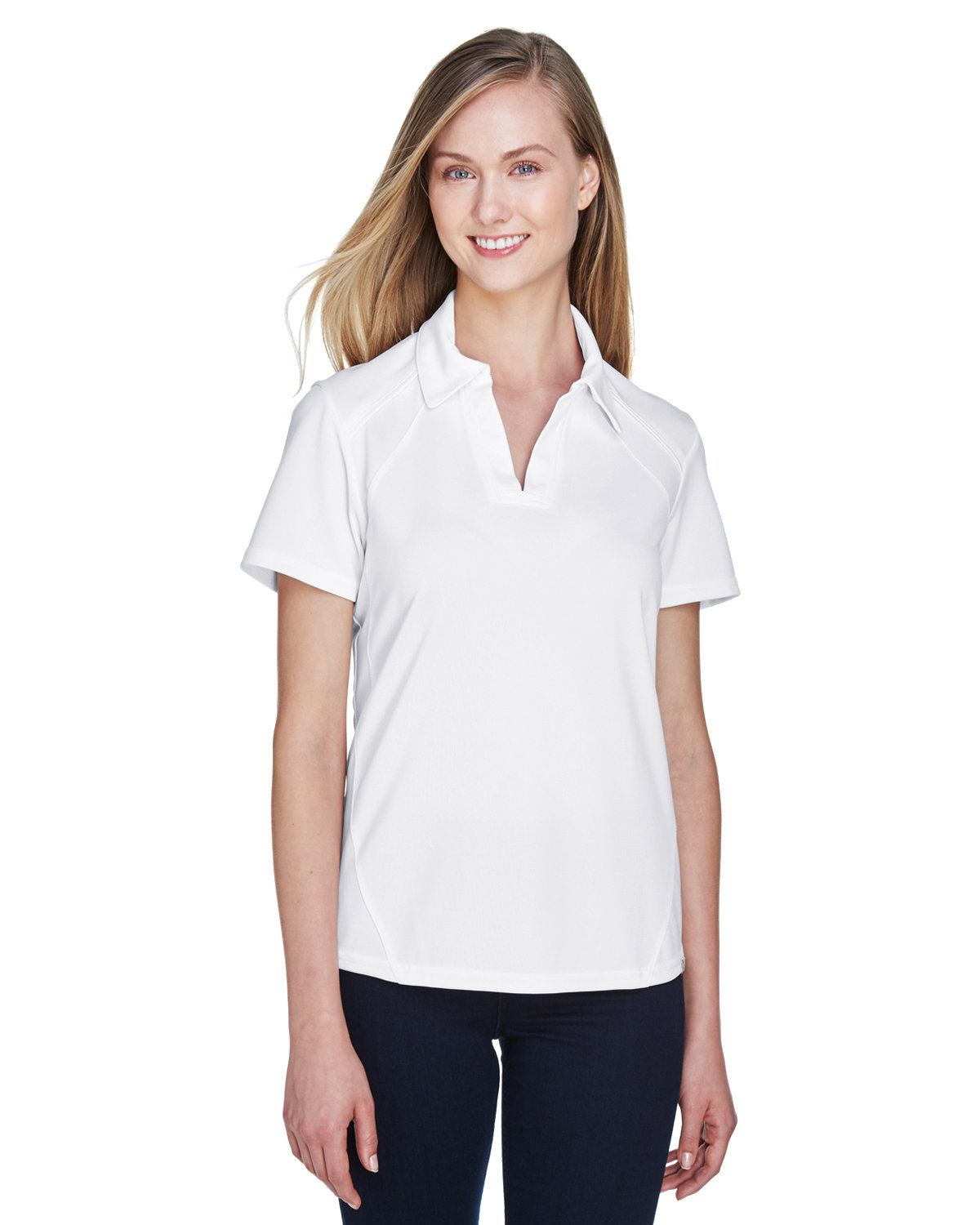 North End Ladies' Recycled Polyester Performance Piqué Polo WHITE