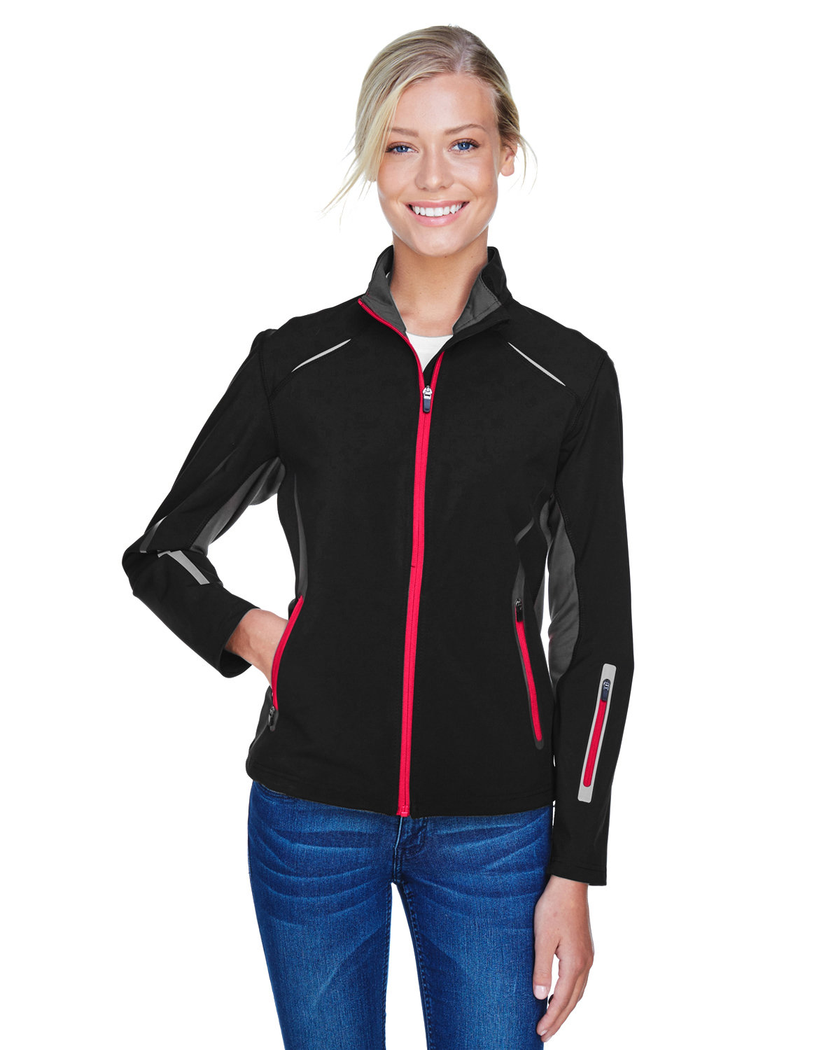 North End Ladies' Pursuit Three-Layer Light Bonded Hybrid Soft Shell Jacket with Laser Perforation BLACK/ OLYM RED