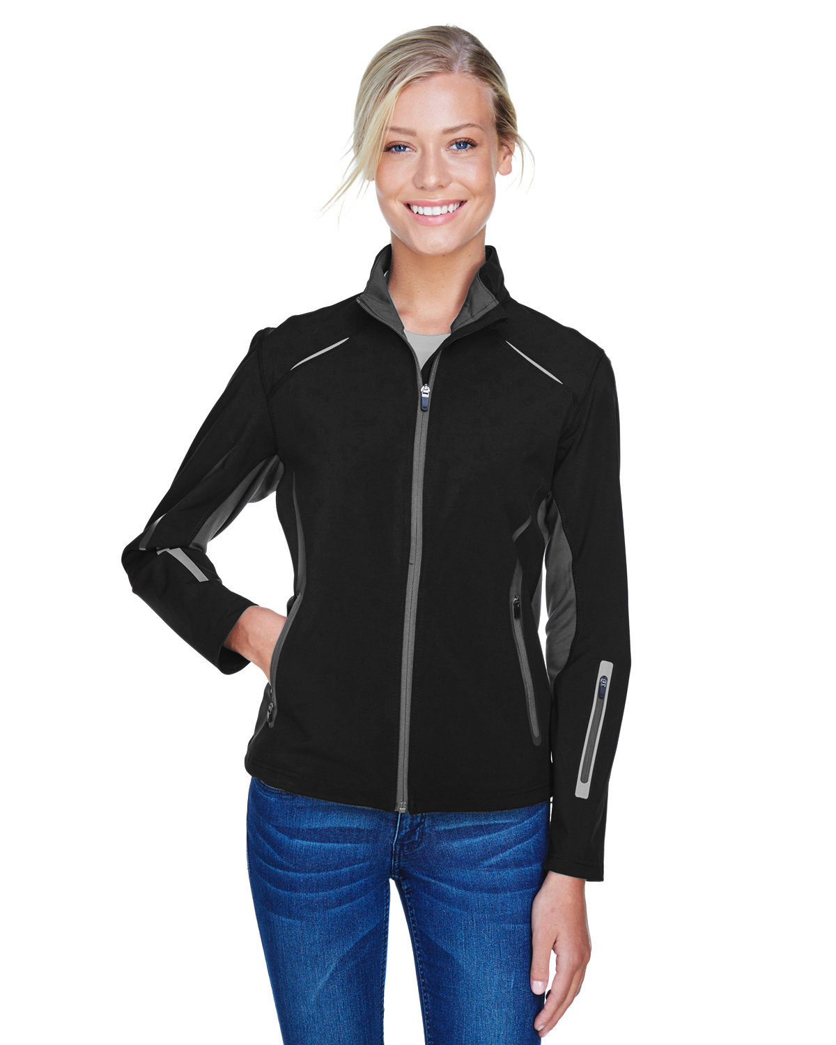 North End Ladies' Pursuit Three-Layer Light Bonded Hybrid Soft Shell Jacket with Laser Perforation BLACK