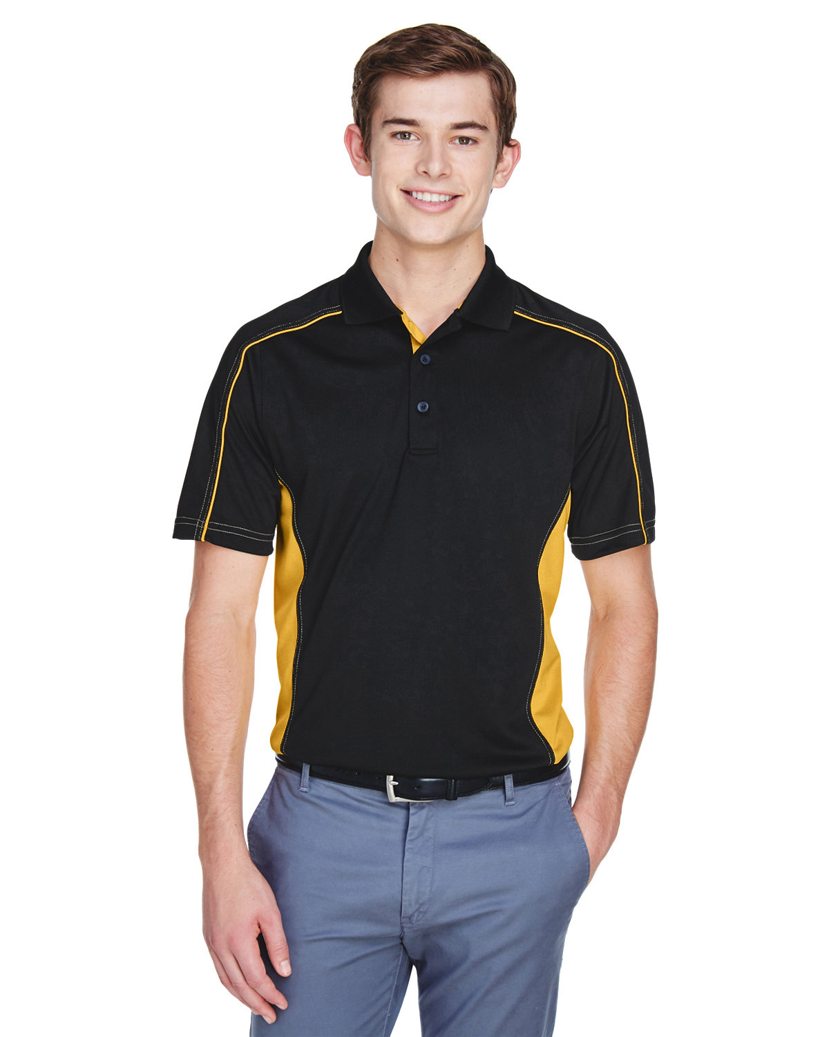 Extreme Men's Eperformance™ Fuse Snag Protection Plus Colorblock Polo BLK/ CMPS GOLD
