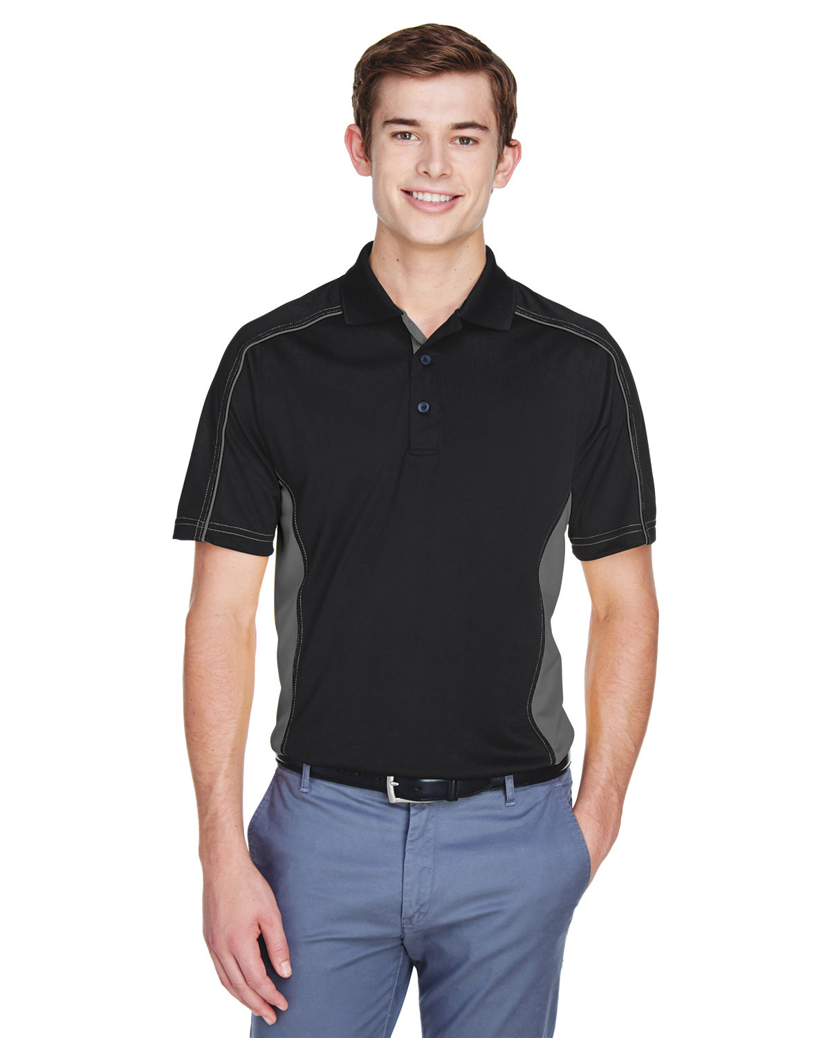 Extreme Men's Eperformance™ Fuse Snag Protection Plus Colorblock Polo BLACK/ CARBON