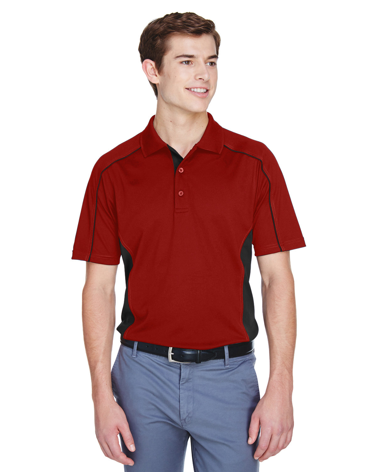 Extreme Men's Eperformance™ Fuse Snag Protection Plus Colorblock Polo CLASSIC RED/ BLK