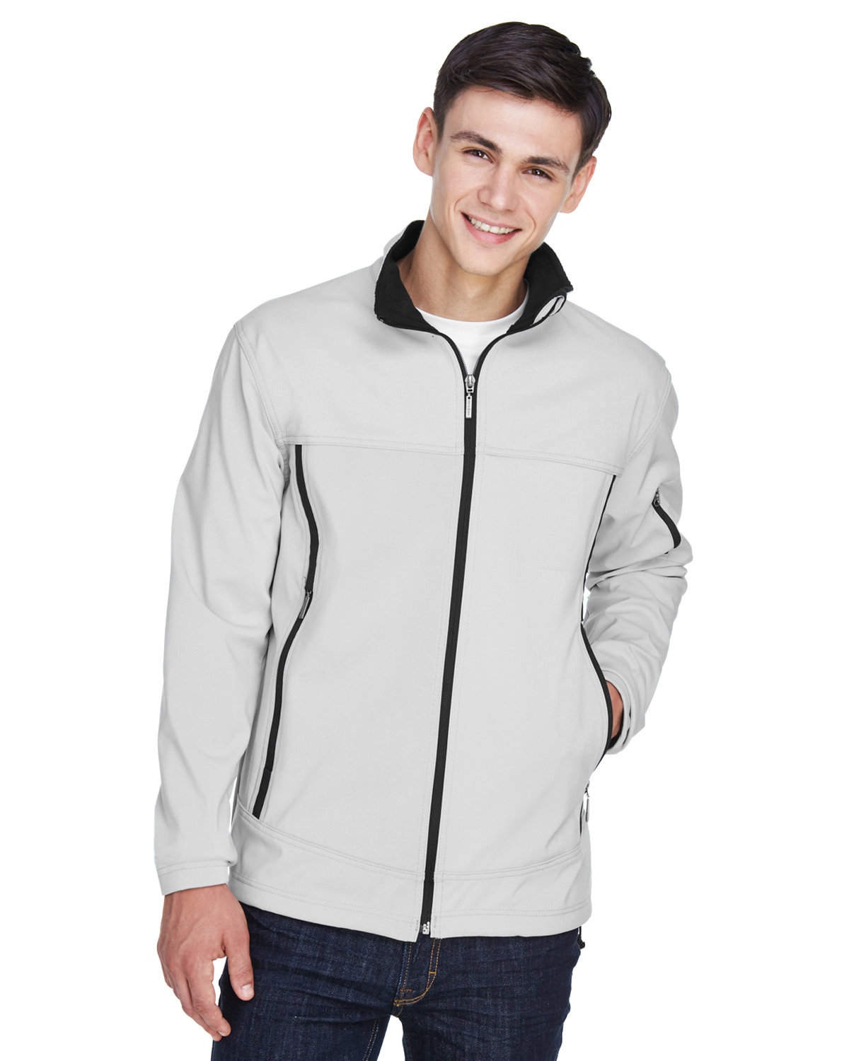 North End Men's Three-Layer Fleece Bonded Performance Soft Shell Jacket NATURAL STONE