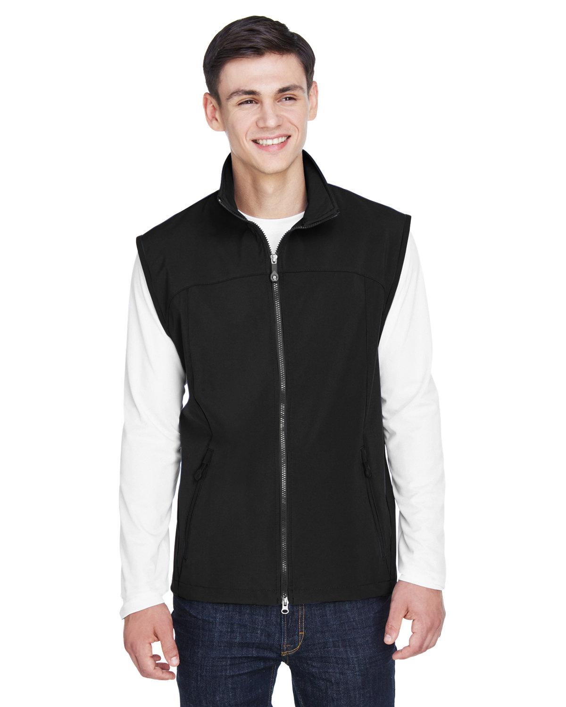 North End Men's Three-Layer Light Bonded Performance Soft Shell Vest BLACK