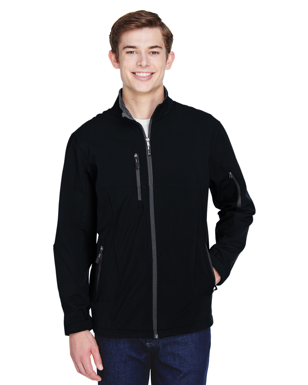 North End Men's Compass Colorblock Three-Layer Fleece Bonded Soft Shell Jacket BLACK