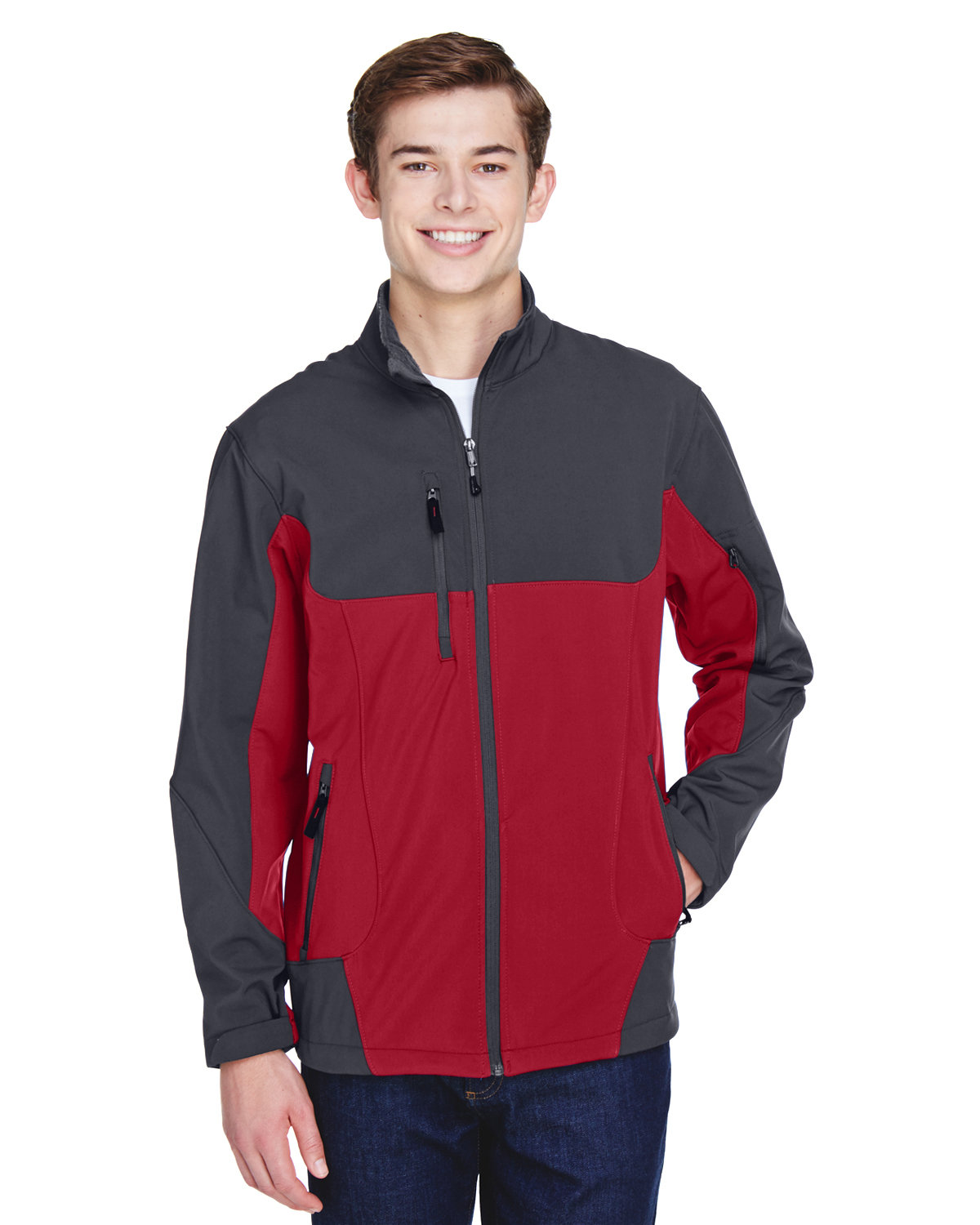 North End Men's Compass Colorblock Three-Layer Fleece Bonded Soft Shell Jacket MOLTEN RED