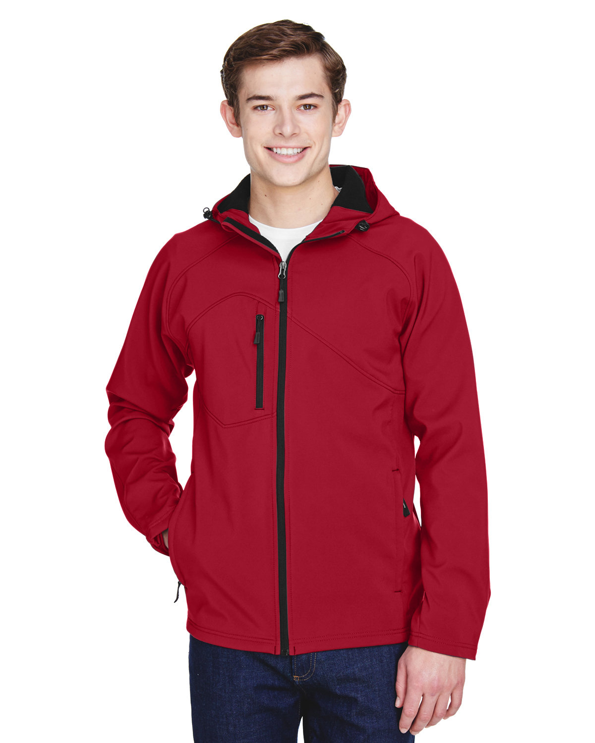 North End Men's Prospect Two-Layer Fleece Bonded Soft Shell Hooded Jacket MOLTEN RED