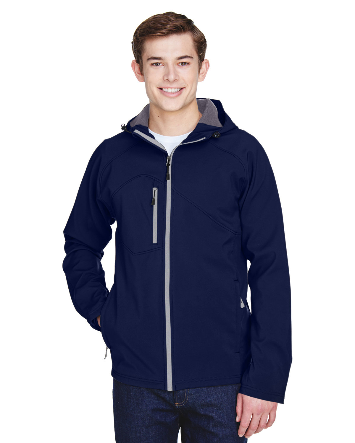 North End Men's Prospect Two-Layer Fleece Bonded Soft Shell Hooded Jacket CLASSIC NAVY