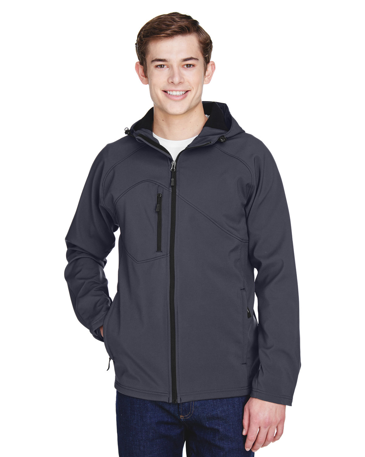 North End Men's Prospect Two-Layer Fleece Bonded Soft Shell Hooded Jacket FOSSIL GREY