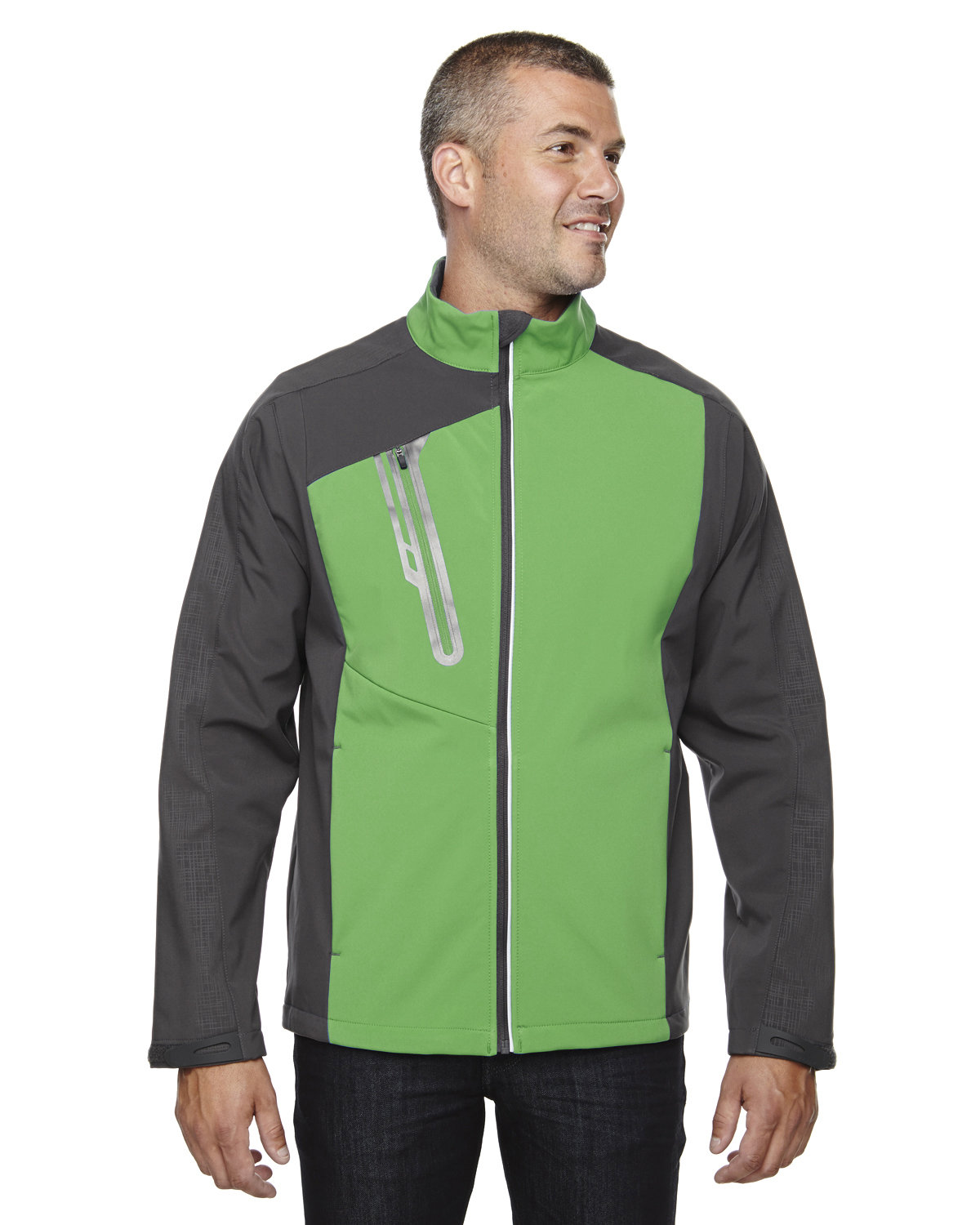 North End Men's Terrain Colorblock Soft Shell with Embossed Print VALLEY GREEN