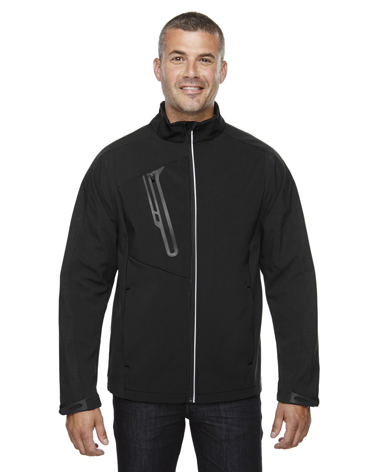 North End Men's Terrain Colorblock Soft Shell with Embossed Print BLACK